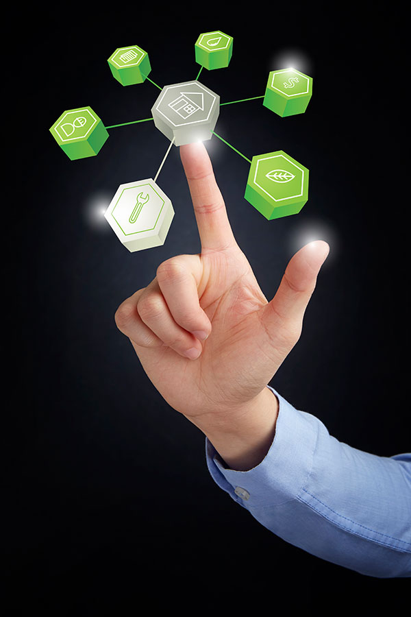 Finger pointing to internet of things